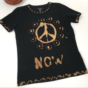 Liz Claiborne PEACE NOW Tee Shirt Sz Petite Small